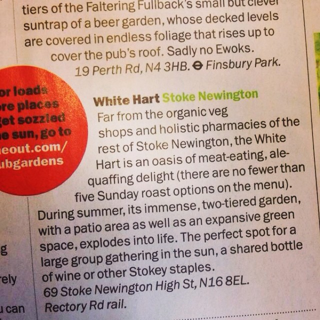 White Hart in TIME OUT this week! #timeout #London #review #press #PR